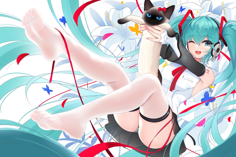 animal cat damao_yu flowers hatsune_miku headphones long_hair panties skirt striped_panties thighhighs twintails underwear vocaloid wink