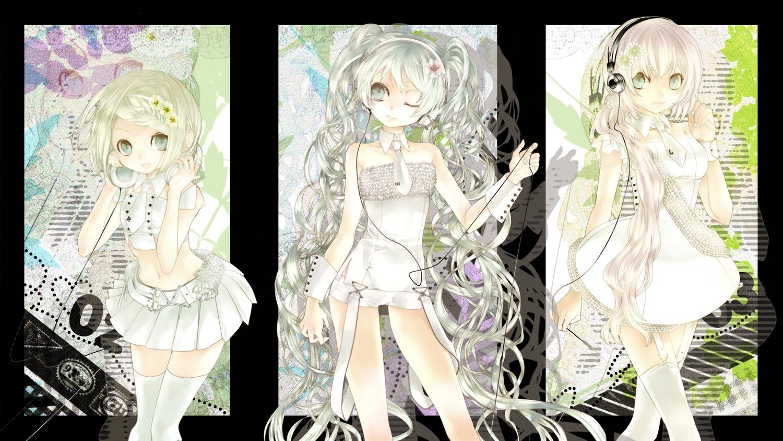 dress ebisu_kana hatsune_miku headphones kagamine_rin megurine_luka thighhighs tie vocaloid