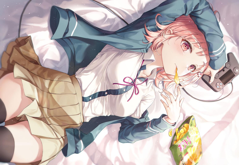 bed dangan-ronpa food game_console nanami_chiaki open_shirt pink_eyes pink_hair r_o_ha school_uniform skirt thighhighs zettai_ryouiki