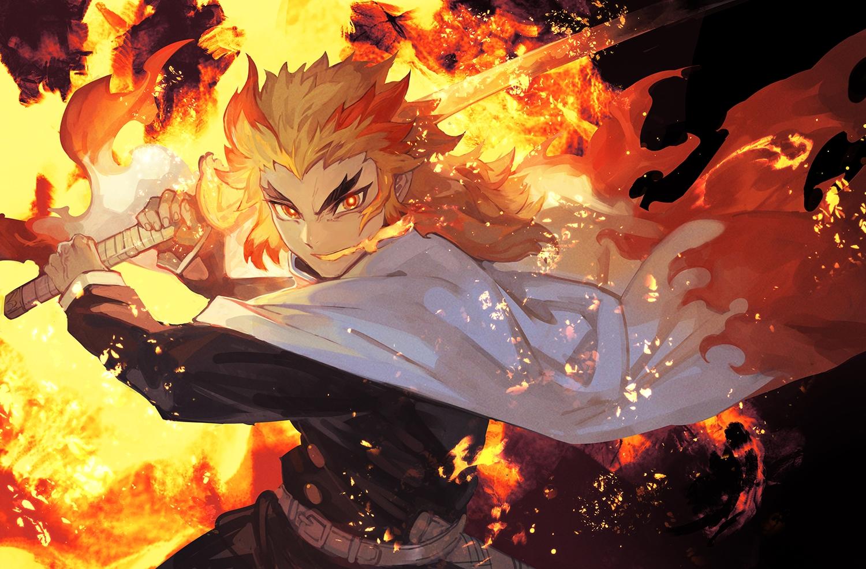 all_male blonde_hair cape fire katana kimetsu_no_yaiba lack long_hair male rengoku_kyoujurou sword uniform weapon yellow_eyes