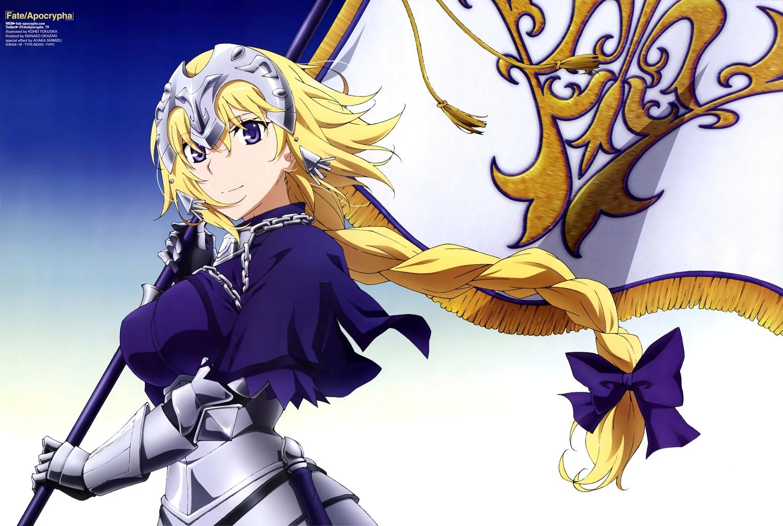 armor blonde_hair bow braids breasts chain elbow_gloves fate/apocrypha fate_(series) gloves gradient headdress jeanne_d'arc_(fate) long_hair ponytail purple_eyes scan tokuoka_kouhei type-moon watermark
