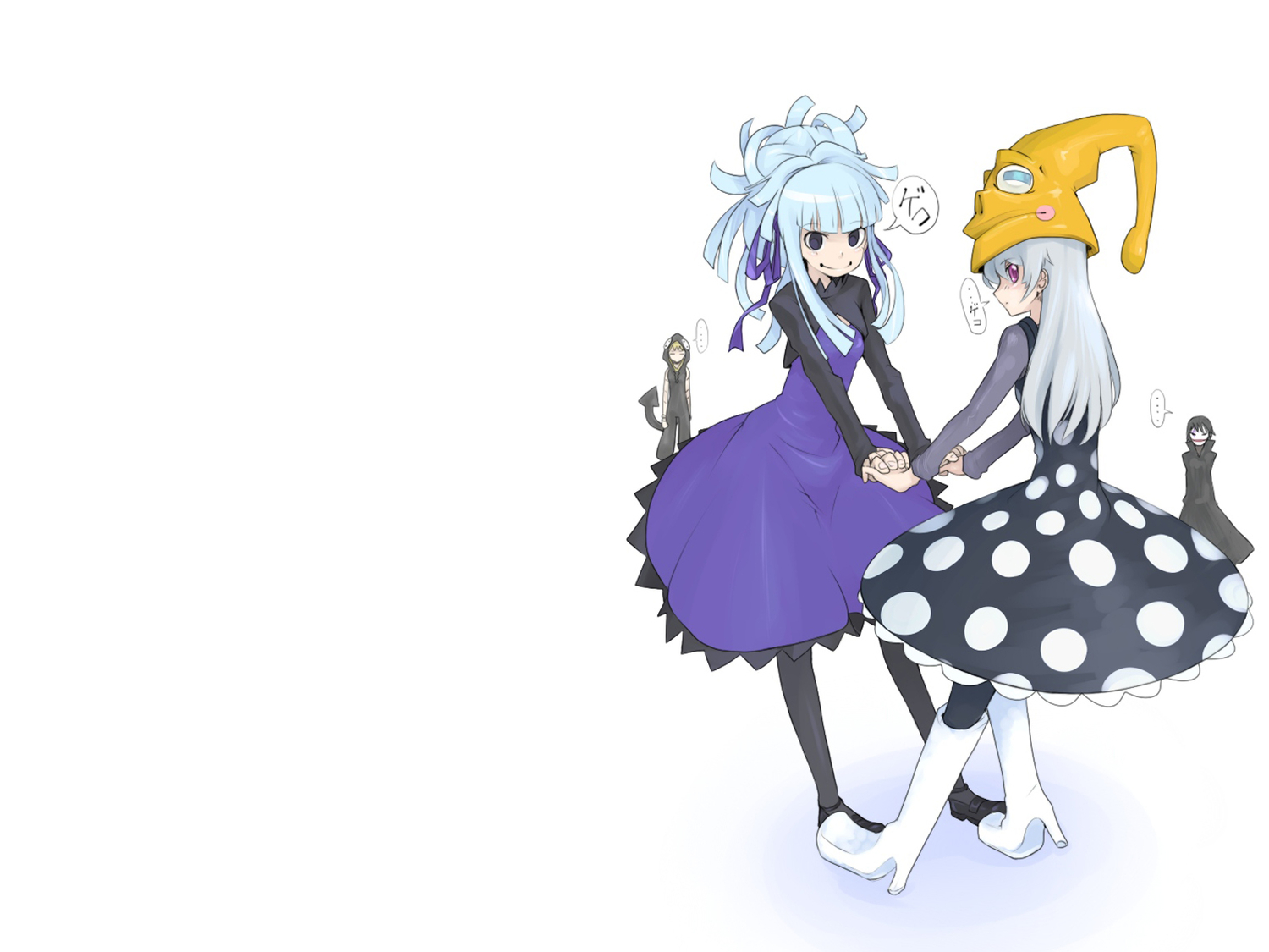 blue_eyes boots cosplay crossover darker_than_black eruka_frog hat hei long_hair medusa oso pantyhose purple_eyes soul_eater white_hair yin