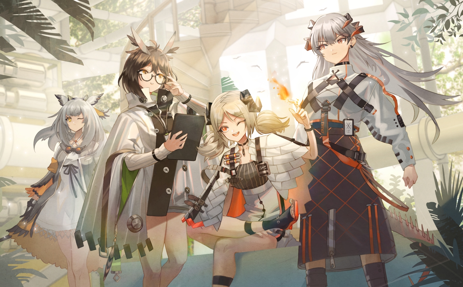 animal_ears arknights glasses group horns ifrit_(arknights) long_hair o-sd! ptilopsis_(arknights) saria_(arknights) silence_(arknights) twintails