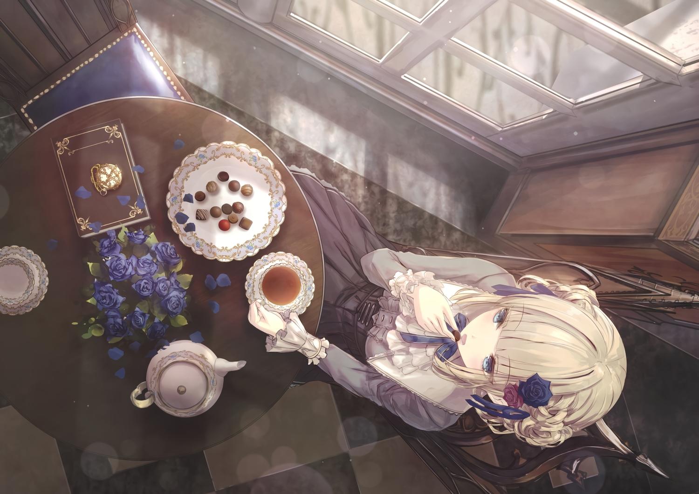 apple228 blonde_hair blue_eyes book candy chocolate dress drink flowers food long_hair original rose
