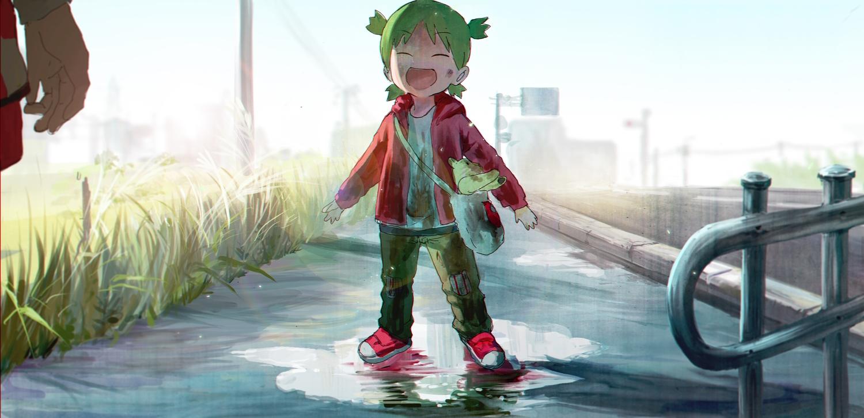 grass green_hair koiwai_yotsuba loli syo5 teddy_bear yotsubato!