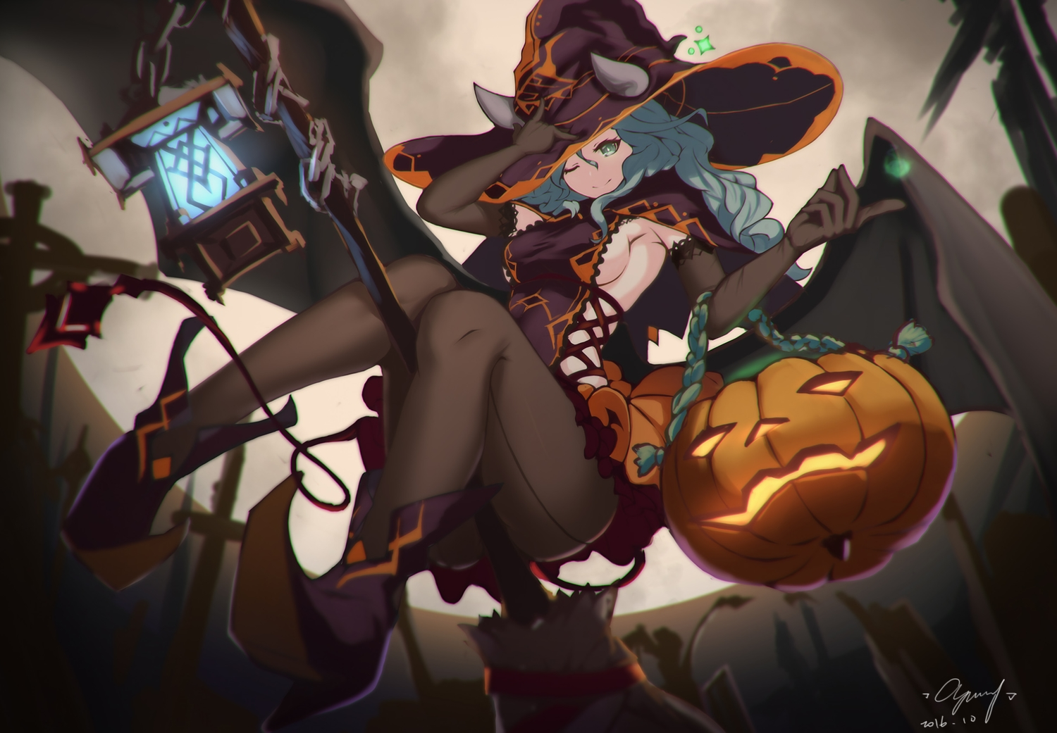 aqua_hair breasts cang_yue_xue_feng elbow_gloves gloves green_eyes halloween hat horns long_hair moon night original pantyhose pumpkin sideboob signed witch_hat