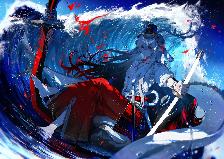 barefoot bell breasts fuuna_(conclusion) horns japanese_clothes katana long_hair miko no_bra onmyouji open_shirt samurai suzuka_gozen_(onmyouji) sword water weapon