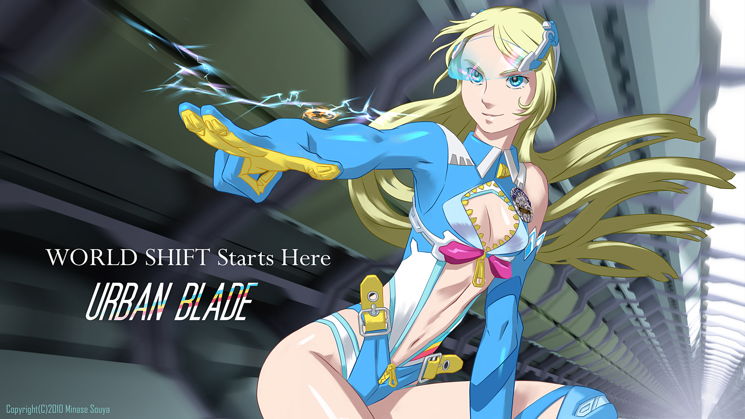 blonde_hair blue_eyes cleavage long_hair minase_souya tagme