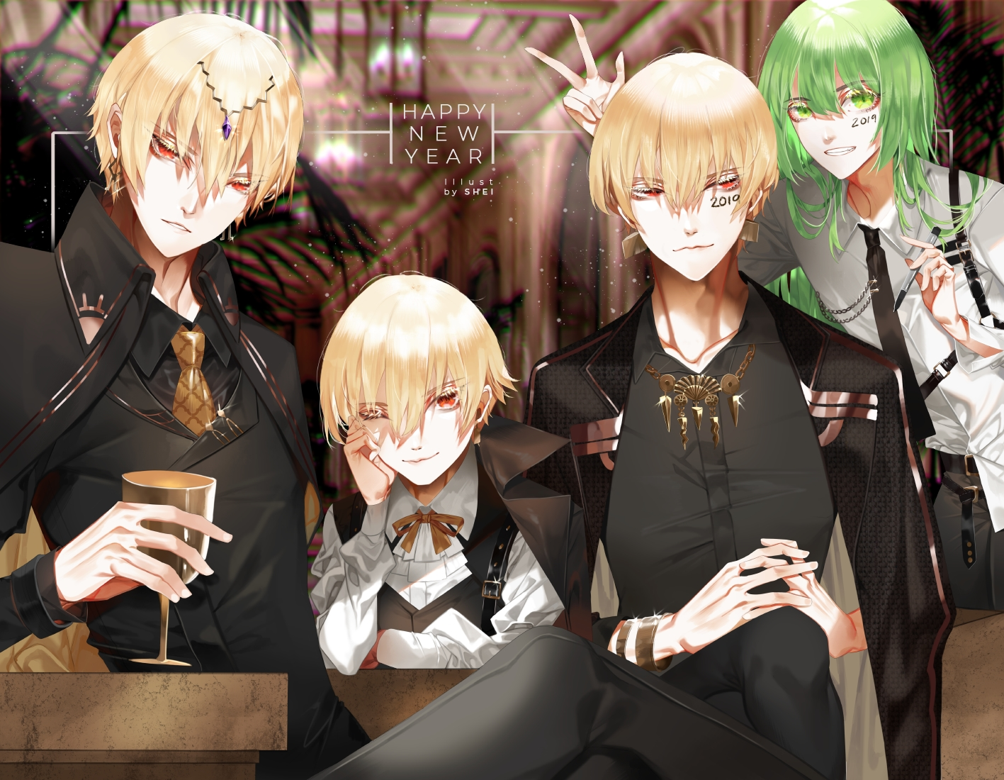 all_male blonde_hair drink enkidu fate/grand_order fate_(series) gilgamesh green_eyes green_hair group long_hair male red_eyes ribbons shei99 short_hair suit tie wink wristwear