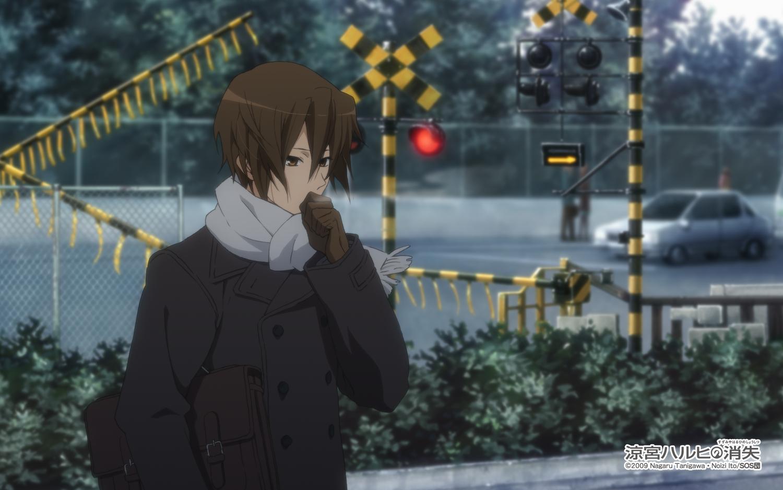 all_male brown_eyes brown_hair car gloves koizumi_itsuki male scarf short_hair suzumiya_haruhi_no_yuutsu tagme_(artist) watermark