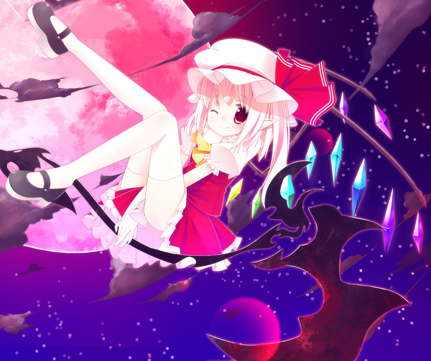 blonde_hair blush bow clouds flandre_scarlet hat moon night red_eyes sefa short_hair sky stars thighhighs touhou vampire wings wink zettai_ryouiki