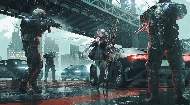 building car city clouds dress drink gray_hair gun long_hair original rain reflection sky swav water weapon