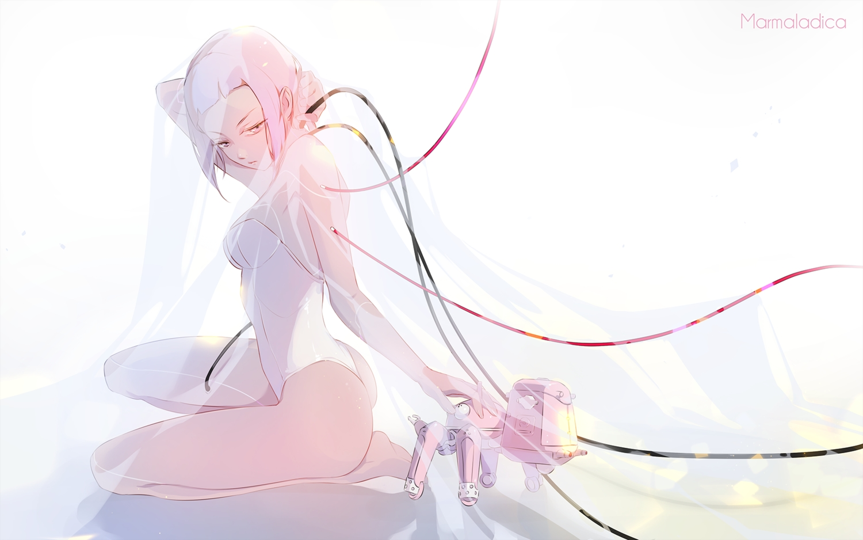 ass barefoot bodysuit breasts ghost_in_the_shell kusanagi_motoko marmalade_(elfless_vanilla) pink_eyes pink_hair robot short_hair tachikoma techgirl
