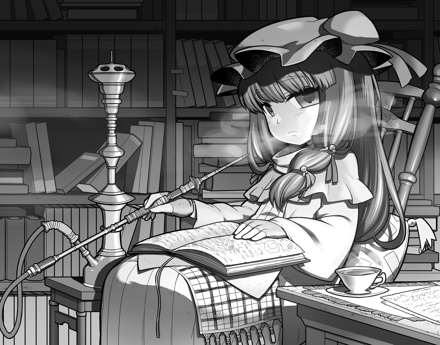 Book bow gloves hat long hair monochrome patchouli knowledge touhou