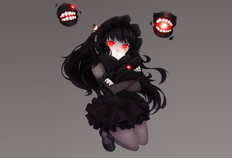 anthropomorphism black_hair bow bushidokuroi dress goth-loli gray headdress horns isolated_island_oni kantai_collection lolita_fashion long_hair pantyhose red_eyes