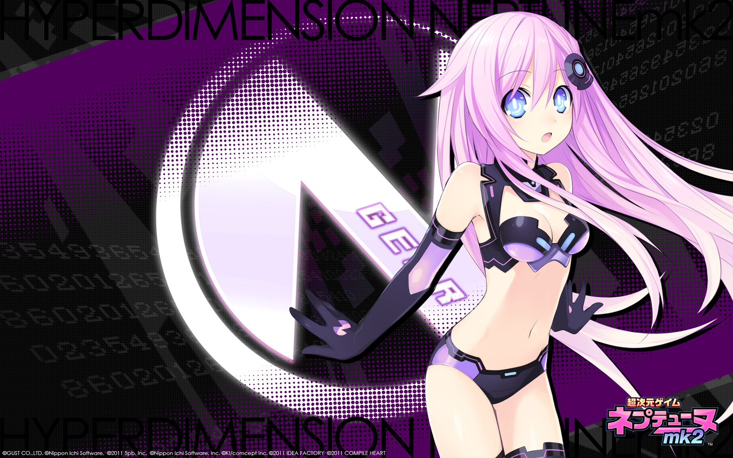 blue_eyes cleavage elbow_gloves hyperdimension_neptunia_mk2 long_hair purple purple_hair purple_sister tsunako