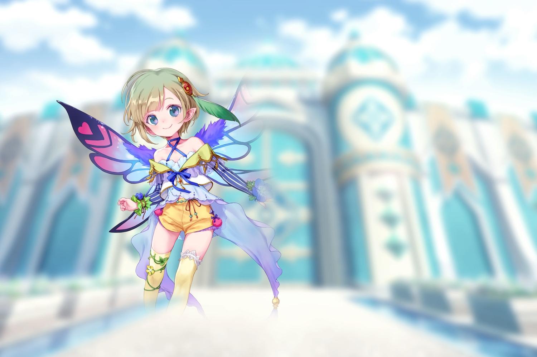 blue_eyes fairy kori_(teria_saga) loli pointed_ears short_hair tagme_(artist) teria_saga thighhighs wings