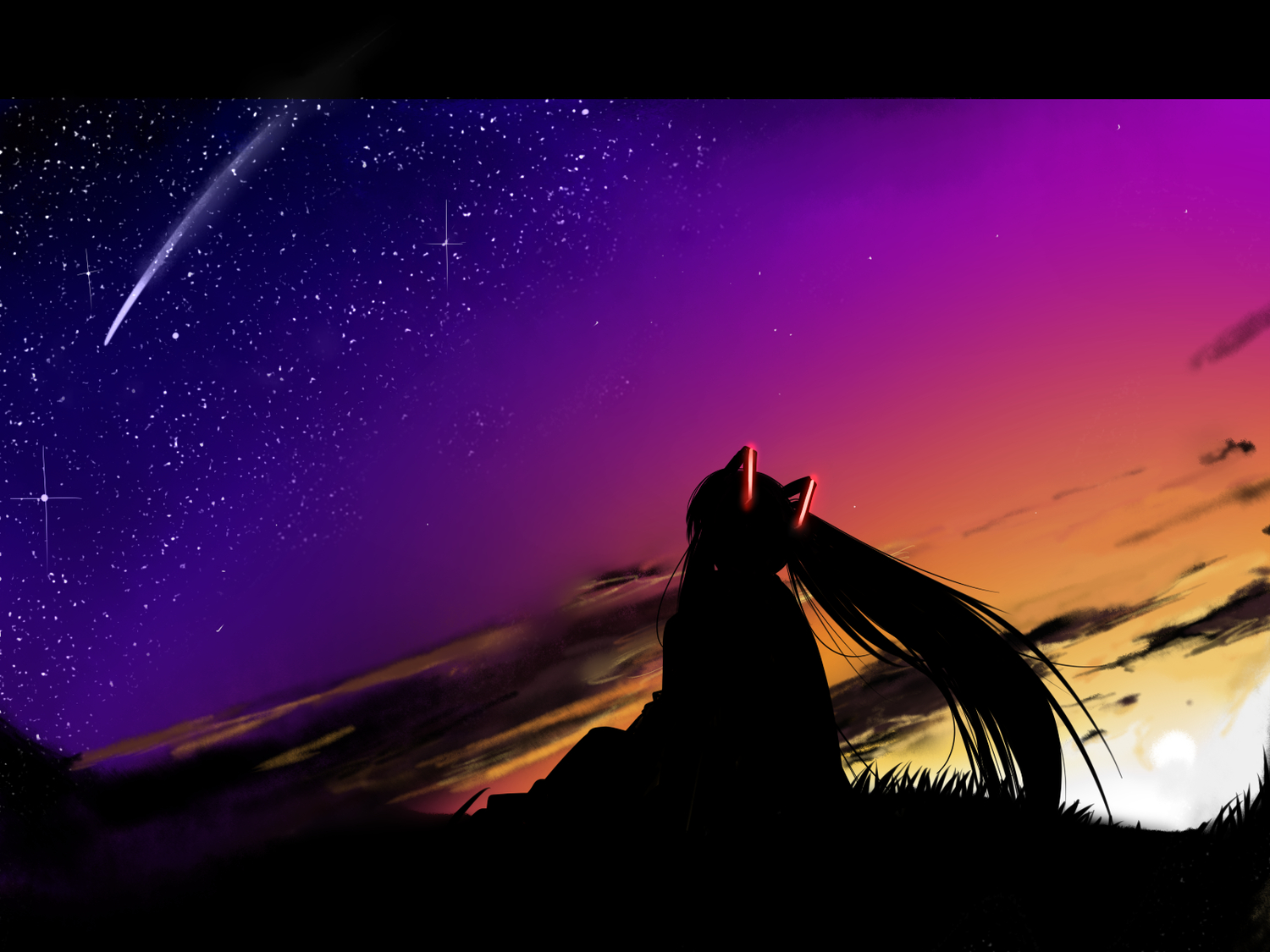 clouds dark hatsune_miku night silhouette sky stars sunset twintails vocaloid