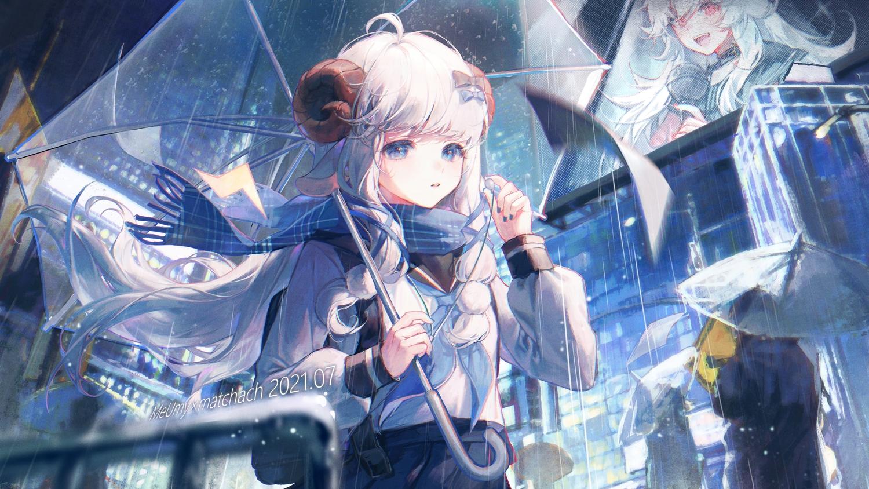 animal_ears building city horns maccha_(mochancc) merry_(meumy) meumy rain scarf sheepgirl umbrella water watermark