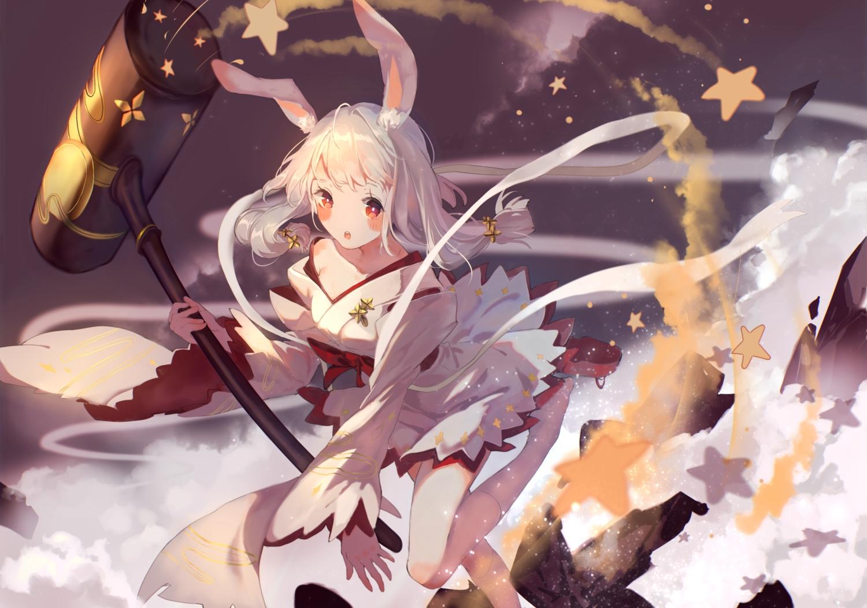 animal_ears blush bou_shaku bunnygirl gray_hair japanese_clothes kneehighs noah_fantasy red_eyes stars tagme_(character) twintails