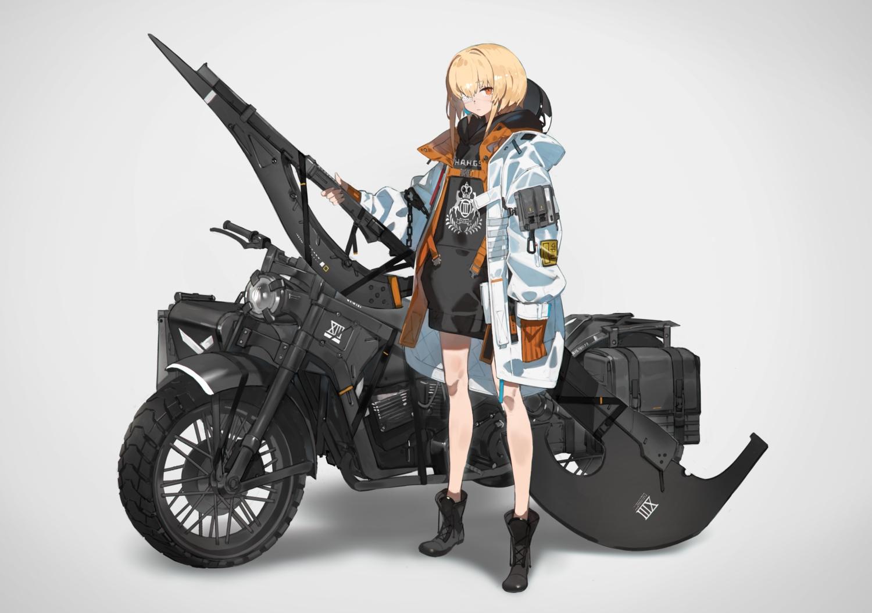 blonde_hair boots eyepatch hoodie motorcycle orange_eyes original short_hair weapon yucca-612