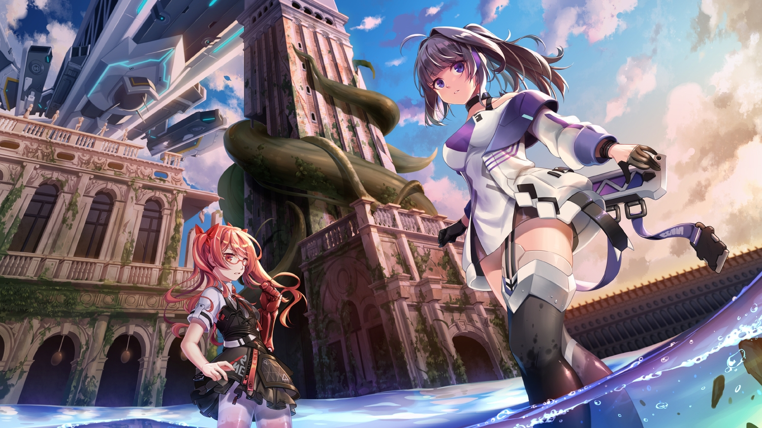 black_hair clouds dress frederica_nikola_tesla_(honkai_impact) glasses gloves honkai_impact nogi-to purple_eyes raiden_mei ruins skirt sky water