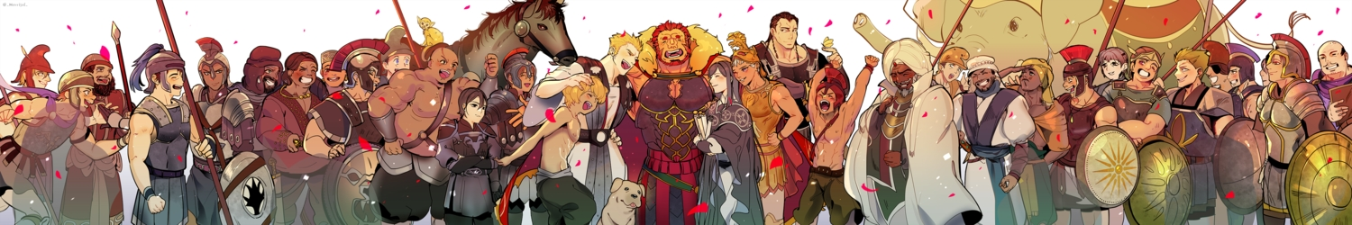alexander_(fate) all_male animal armor blonde_hair brown_hair dark_skin elephant fate/grand_order fate_(series) fate/stay_night fate/zero headdress horse male morrisol red_hair signed spear weapon