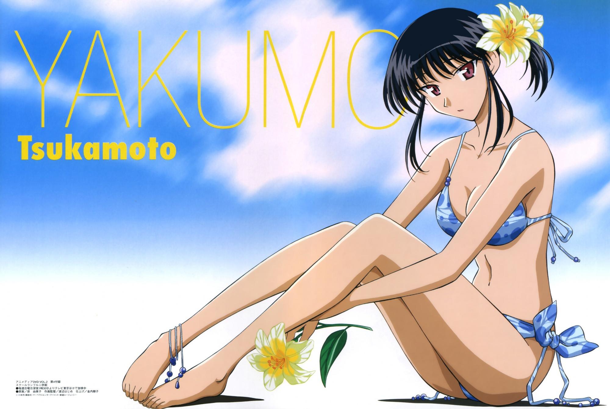 barefoot bikini black_hair brown_eyes flowers megami scan school_rumble sky swimsuit tsukamoto_yakumo