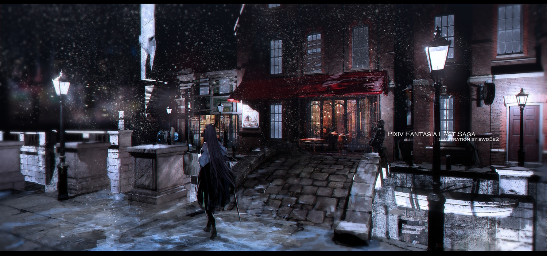 3d building city long_hair original pixiv_fantasia scenic snow swd3e2 watermark