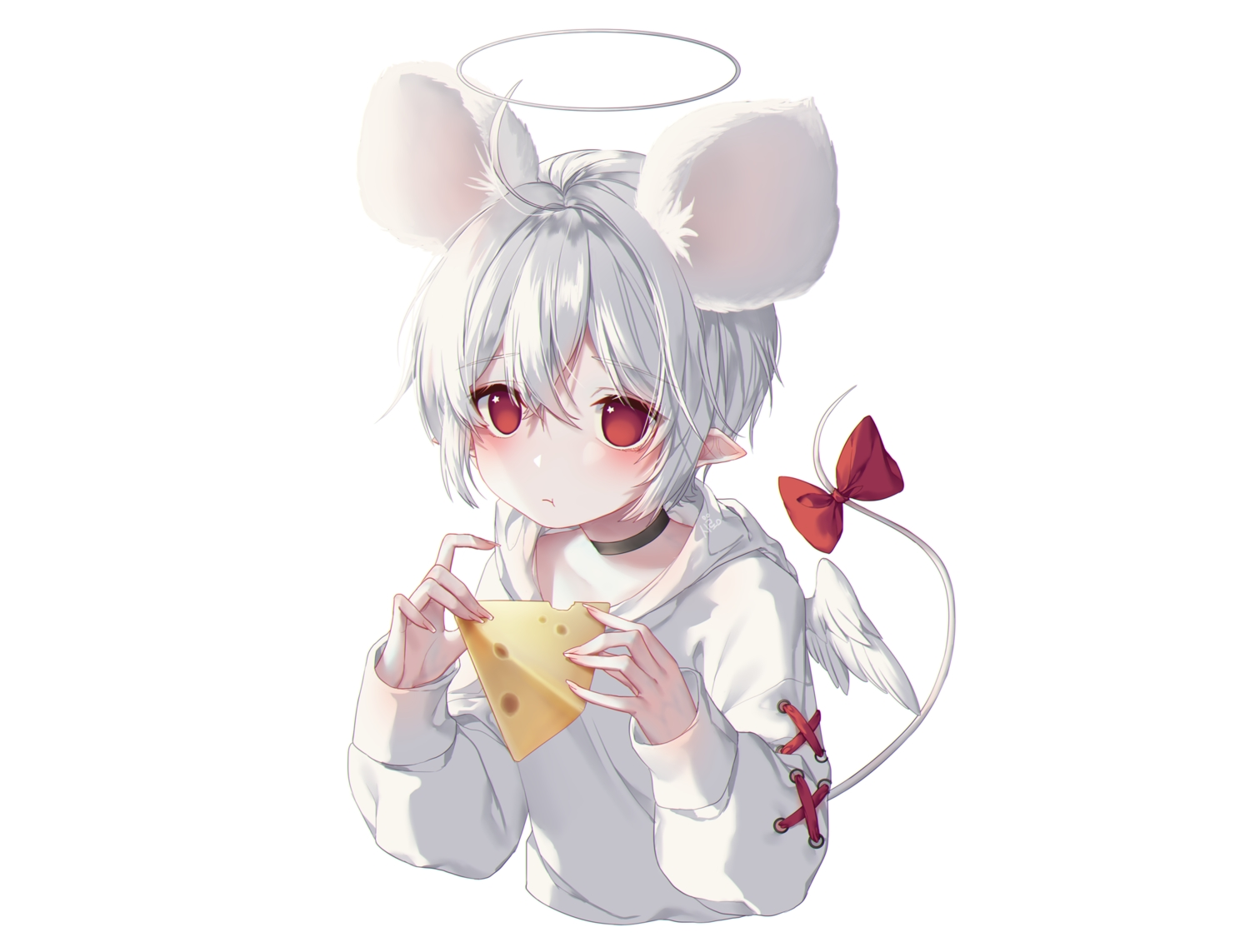 albinoraccoon all_male angel bow choker food halo hoodie male original pointed_ears red_eyes short_hair tail white white_hair wings
