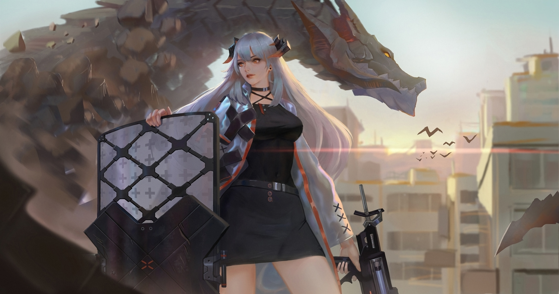 arknights building choker city dragon gray_hair gun horns jangsunyo long_hair orange_eyes saria_(arknights) skirt sky waifu2x weapon