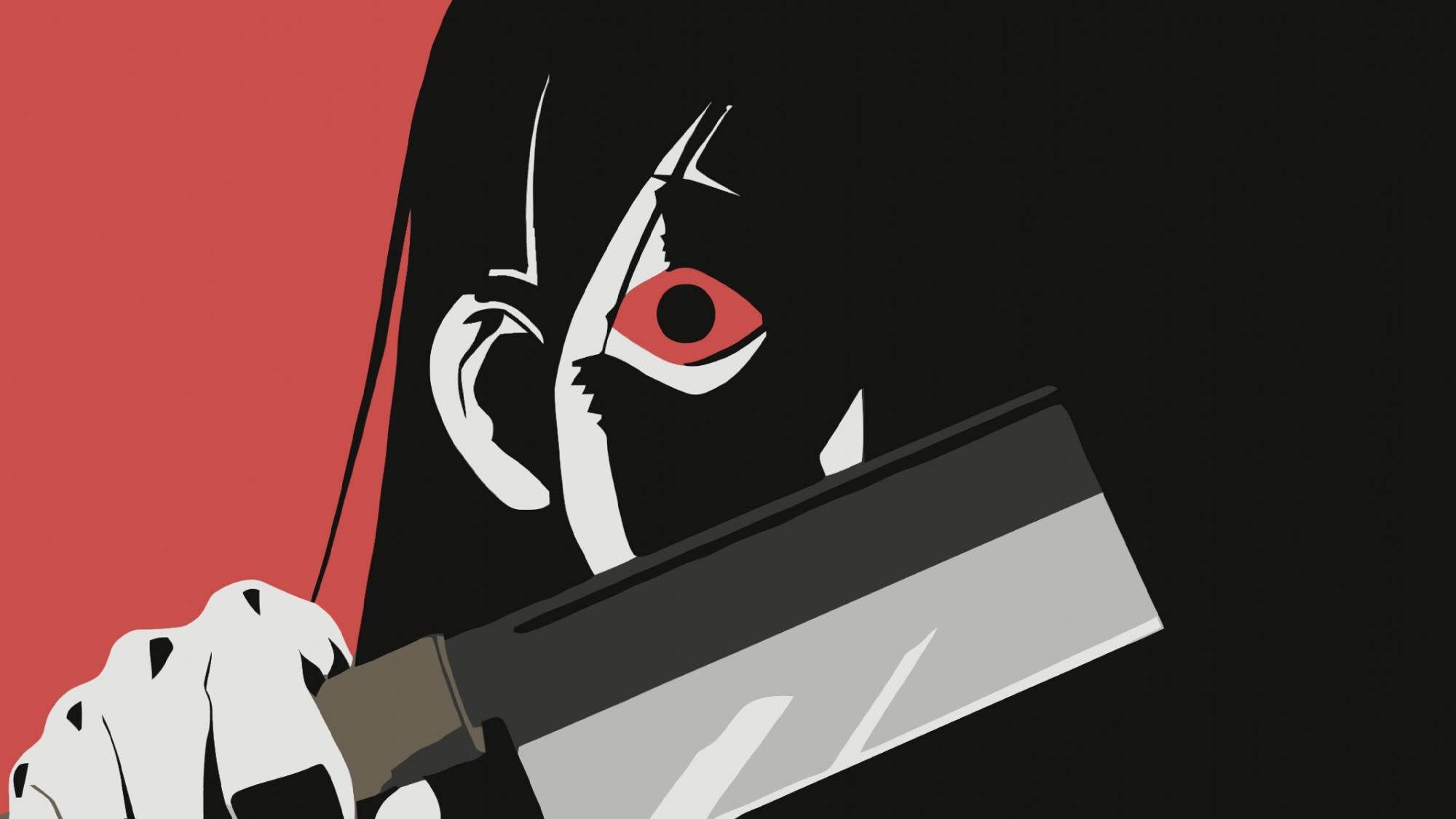 black_hair close kitsu_chiri knife red_eyes sayonara_zetsubou_sensei weapon