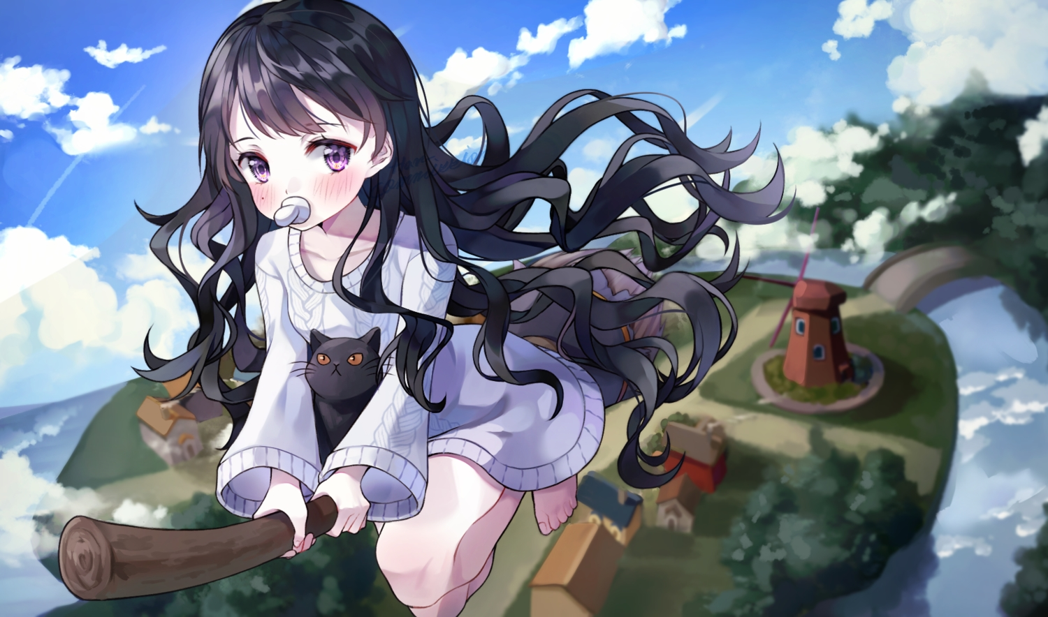 animal black_hair blush building cat clouds han_seol landscape loli long_hair original purple_eyes scenic sky water windmill witch