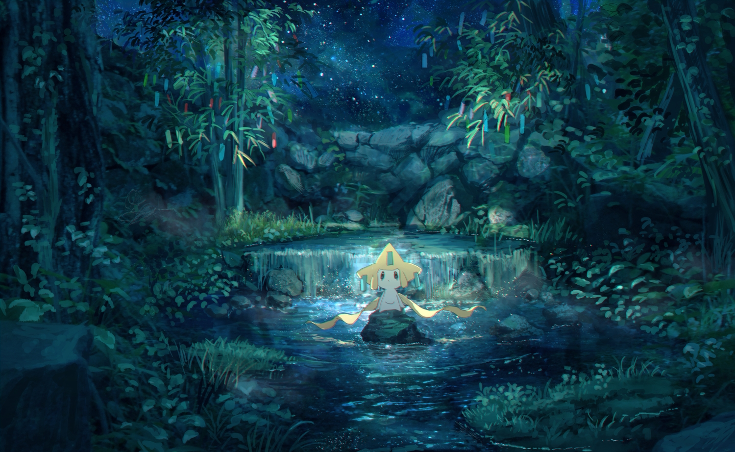jirachi night pippi_(p3i2) pokemon scenic stars water