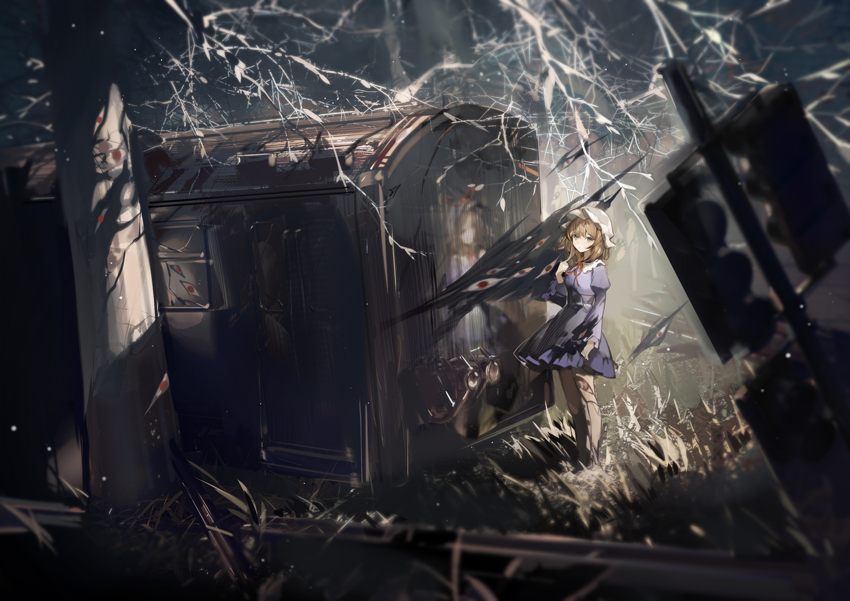 blonde_hair blue_hair building dress grass happytreefriendspikapika hat maribel_han night ruins short_hair touhou train tree