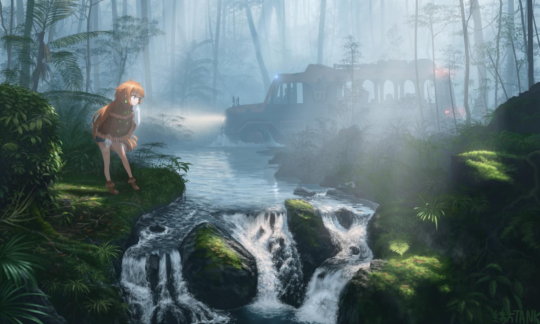 anthropomorphism boots forest kemono_friends long_hair ogata_tank orange_hair orangutan_(kemono_friends) signed tree water waterfall