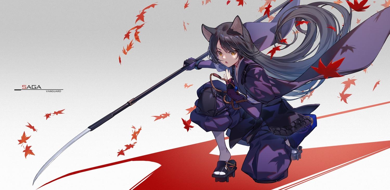 animal_ears arknights armor black_hair doggirl elbow_gloves gloves gradient japanese_clothes leaves long_hair nian saga_(arknights) samurai spear weapon wristwear yellow_eyes