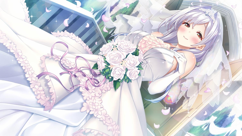 blush evelyn_devolugard flowers game_cg gray_hair long_hair maokatsu!_maou_to_yuusha_no_idol_seikatsu petals red_eyes rose tagme_(artist) tiara wedding_attire wonder_fool
