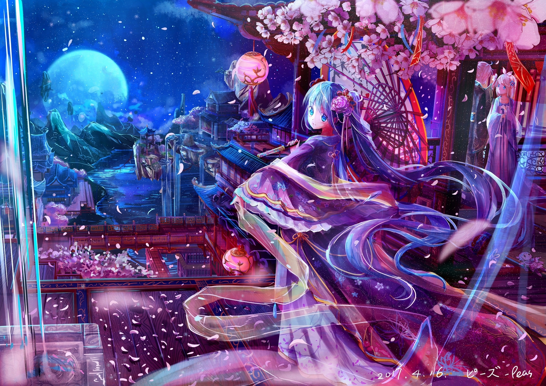 aqua_eyes aqua_hair doll hatsune_miku japanese_clothes jpeg_artifacts kagamine_len kagamine_rin kamui_kanna kimono kobayashi-san_chi_no_maid_dragon long_hair male moon night peas_(peas0125) petals short_hair twintails umbrella vocaloid