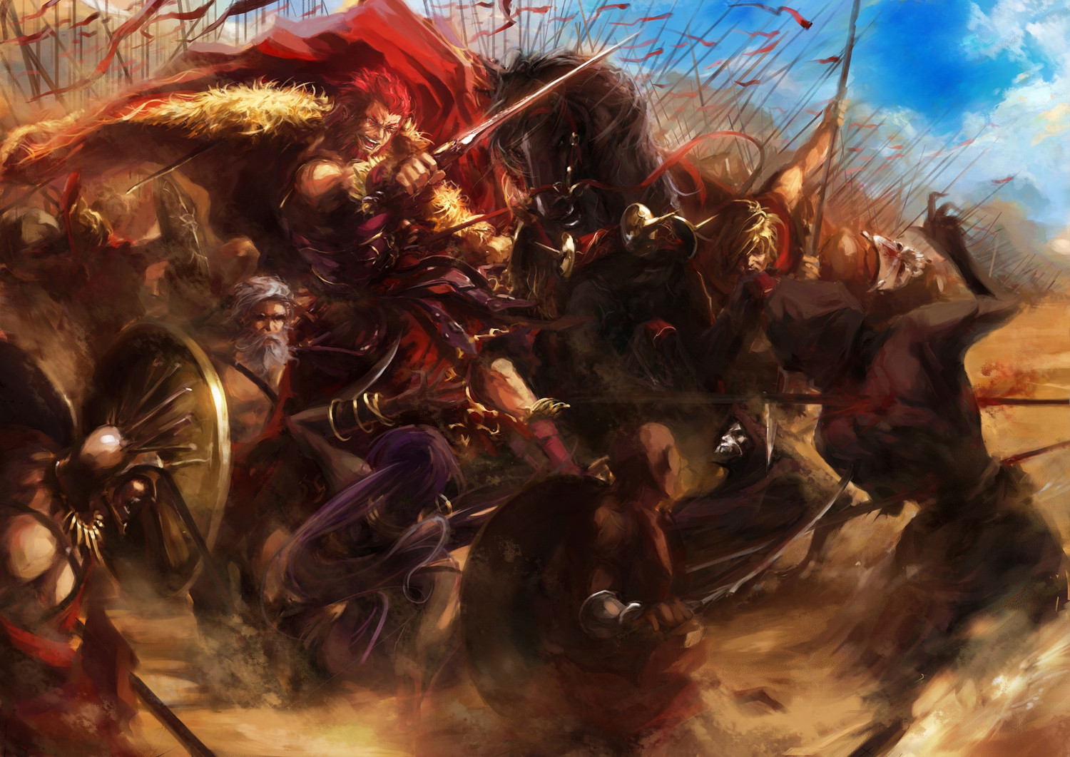 alexander_(fate) animal cape fate_(series) fate/stay_night fate/zero gray_hair group horse long_hair ponytail purple_hair red_eyes red_hair short_hair spear stu_dts sword true_assassin weapon