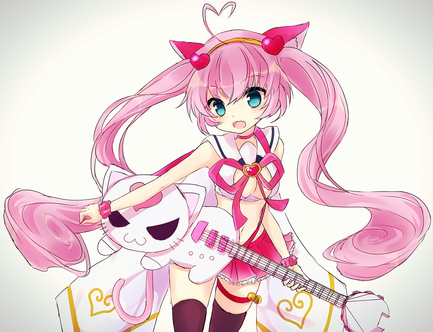 animal_ears blue_eyes breasts cat_smile cleavage fang guitar headband instrument long_hair mareta_mochi pink_hair rosia_(show_by_rock!) show_by_rock!! skirt tail thighhighs twintails wristwear