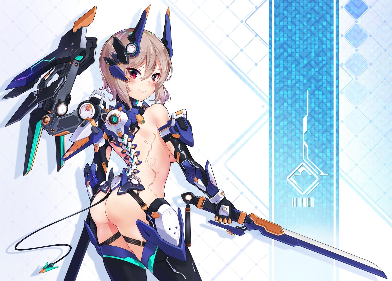ass brown_hair cawang mechagirl no_bra nopan original sword tail techgirl weapon wings