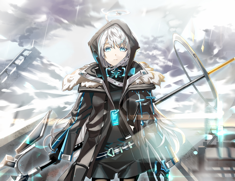aqua_eyes clouds ddaomphyo gray_hair hoodie original sky spear weapon