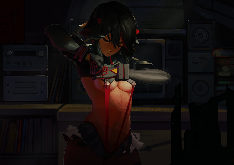 black_hair dark kill_la_kill lanlanlu matoi_ryuuko navel skirt underboob uniform