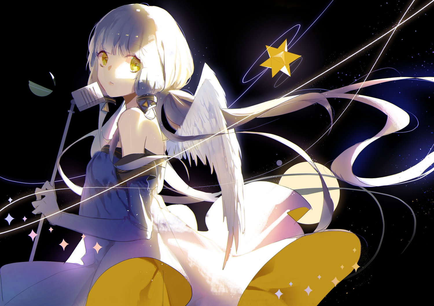 black dress elbow_gloves gloves long_hair microphone twintails vocaloid vocaloid_china wings xingchen yellow_eyes zhibuji_loom