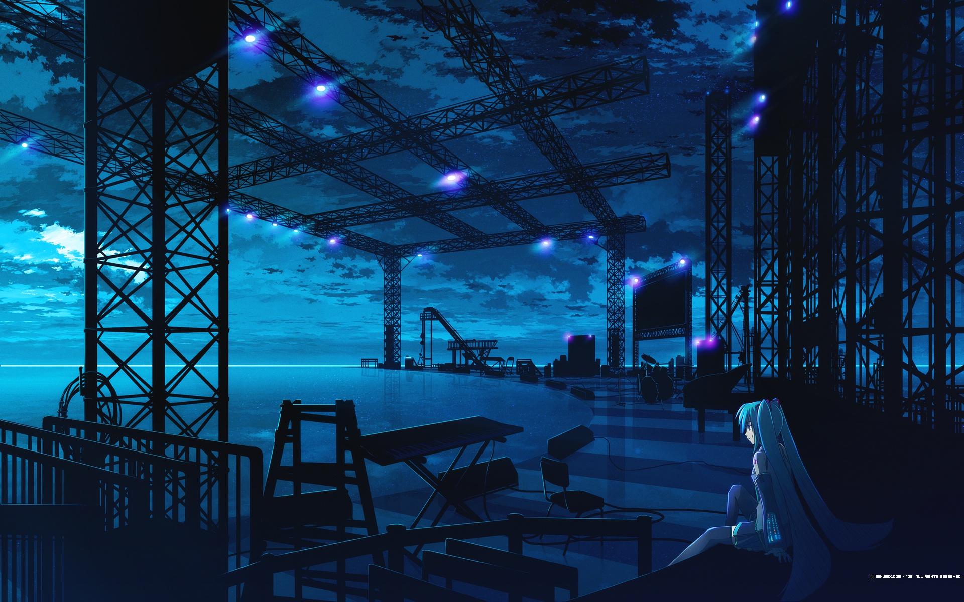 108 blue clouds drums hatsune_miku instrument mikumix night polychromatic vocaloid