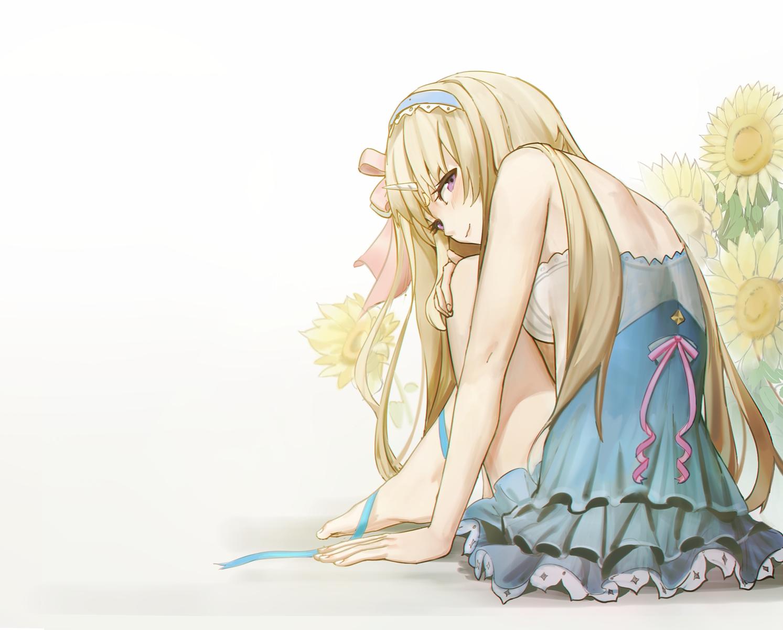 barefoot blonde_hair bow civia dress flowers headband hololive horns long_hair purple_eyes ribbons siyumu sunflower