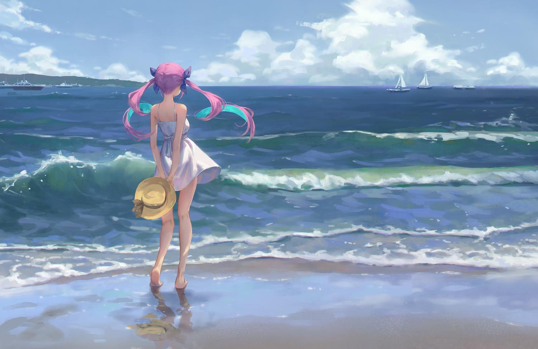 barefoot beach boat clouds dress gawain_(artist) hat hololive long_hair minato_aqua purple_hair reflection scenic sky summer_dress twintails water