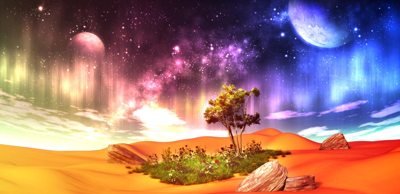3d clouds desert flowers grass landscape moon nobody original scenic sky stars tree y-k
