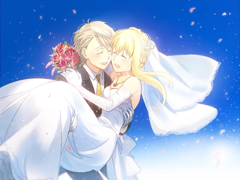 aki_(neyuki41028) aldnoah.zero asseylum_vers_allusia flowers male necklace petals rose slaine_troyard wedding wedding_attire